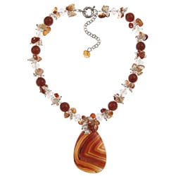 Pearlz Ocean Agate, Carnelian and Freshwater Pearl 17-inch Necklace (3-5 mm)