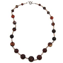 Pearlz Ocean Blended Agate and Freshwater Pearl 22-inch Necklace (3-5 mm)