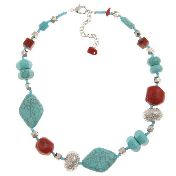 Pearlz Ocean Silvertone Faux Turquoise and Coral Bead Necklace 8349912
