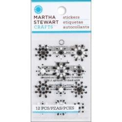 Martha Stewart Doily Lace Mini Flower Gemstone Stickers (Pack of 12)