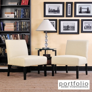 Portfolio Niles Khaki Tan Stripe Armless Accent Chair (Set of 2)