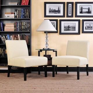 Portfolio Niles Khaki Tan Stripe Armless Accent Chair (Set of 2)