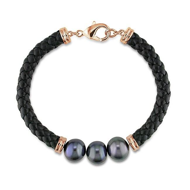 Goldtone Black Pearl and Black Leather Bracelet (9-10 mm)