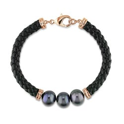 Goldtone Black Pearl and Black Leather Bracelet (9-10 mm)