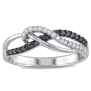 Miadora Sterling Silver 1/4ct TDW Black and White Diamond Ring (H-I, I3)