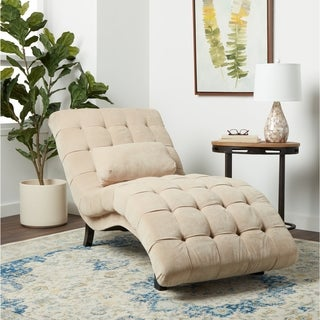 Chaise lounges living room furniture overstock shopping for Abbyson living soho cream fabric chaise