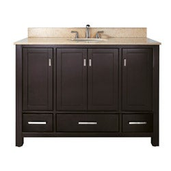 Manhattan 48-inch Beige Marble Top and Sink Espresso Vanity