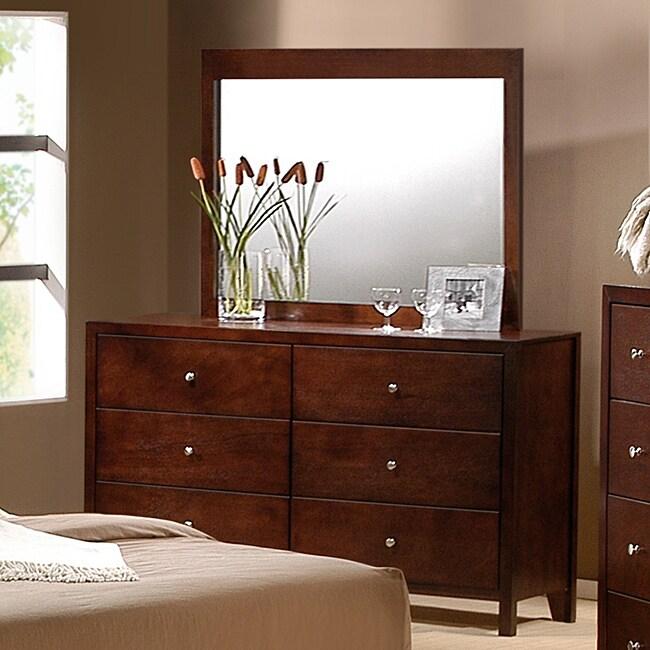 Sonata Cherry Finish Mirror and 6-drawer Dresser Set