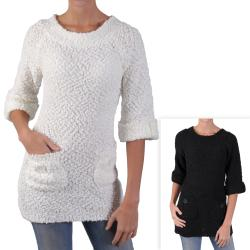 Journee Collection Junior's 3/4-sleeve Boatneck Tunic Sweater