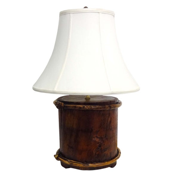 Natural Wood Bucket Table Lamp