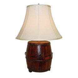 Natural Stained Kitchen Bucket Wooden Table Lamp