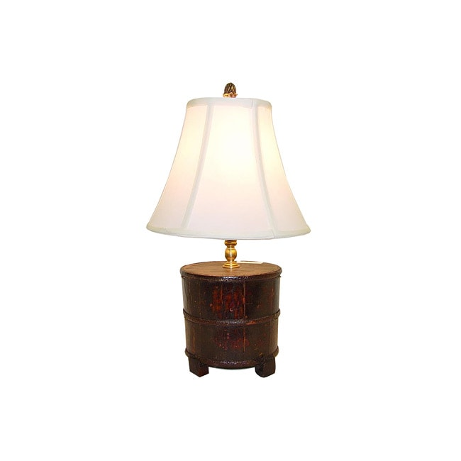 Natural Stained Wood Kitchen Bucket Table Lamp