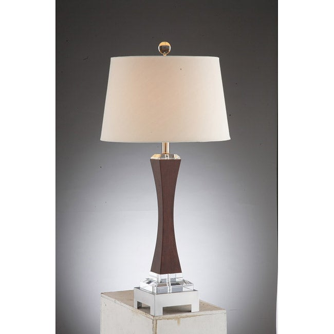 Antonia Wood and Crystal Table Lamp