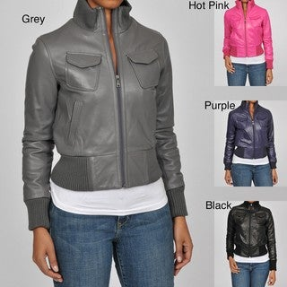 Knoles & Carter Women's Plus Size Veronica Bomber Leather Jacket