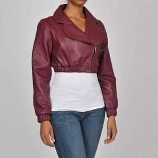 Knoles & Carter Women's Plus Size Leather Bolero Bomber Jacket