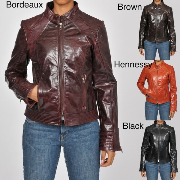 Knoles & Carter Women's Plus Size Leather Perforated Moto Jacket