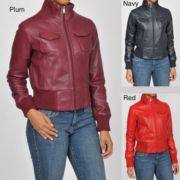 Knoles & Carter Women's Plus Size 'Veronica' Bomber Leather Jacket