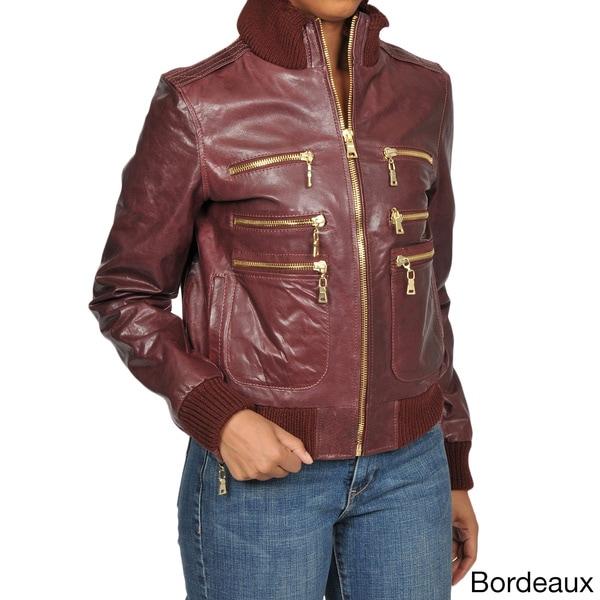 Knoles & Carter Women's Plus Size Zippered Leather Bomber Jacket
