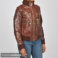 Knoles & Carter Women's Plus Size Zippered Leather Bomber Jacket