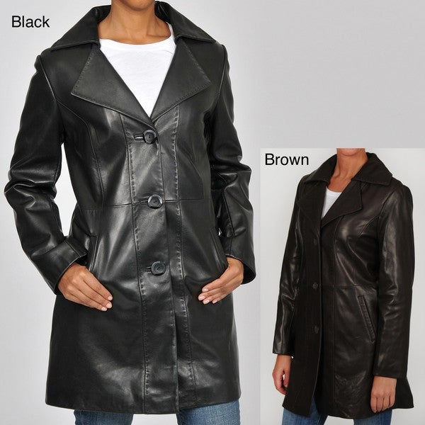 Tibor Designs Women's Pick Stitched Leather Walking Coat