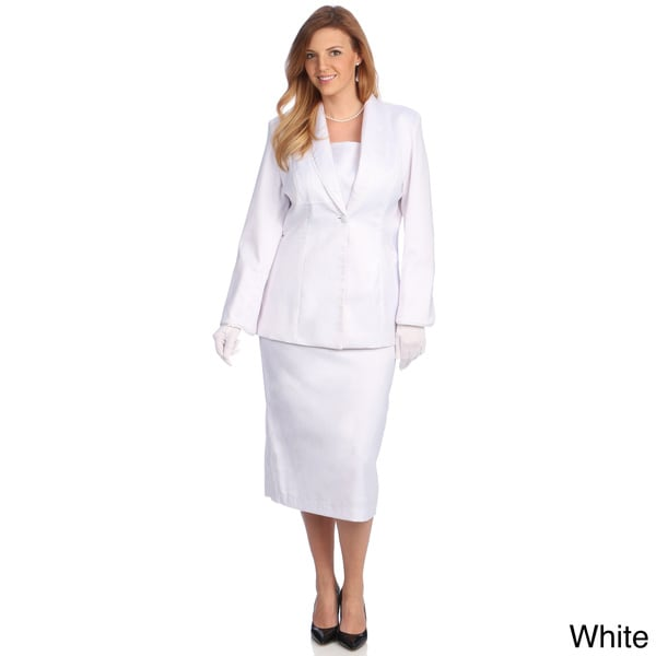 Divine Apparel Women's Plus Size Satin Trimmed Shawl Collar Skirt Suit