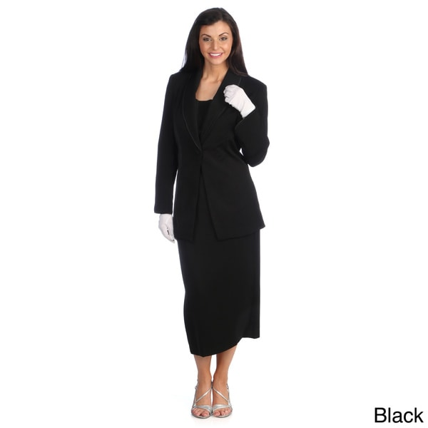 Divine Apparel Women's Satin Trimmed Shawl Collar Skirt Suit