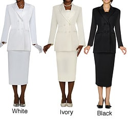 Divine Apparel Women's Plus Size Double-Breasted Long-Sleeve Peak Lapel Skirt Suit