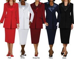 Divine Apparel Women's Plus Size 3-piece Satin Wing Collar Peak Lapel Skirt Suit