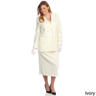Divine Apparel Women's Plus Size Double-breasted Peak Lapel Skirt Suit
