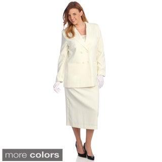 Divine Apparel Women's Plus Size Double-breasted Peak Lapel Skirt Suit