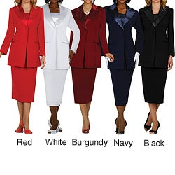 Divine Apparel Women's Plus-Size Three-Piece Satin-Wing-Collar Peak-Lapel Elastic Skirt Suit