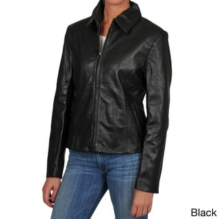 Tibor Women's Zip Front Shirt Collar Leather Jacket