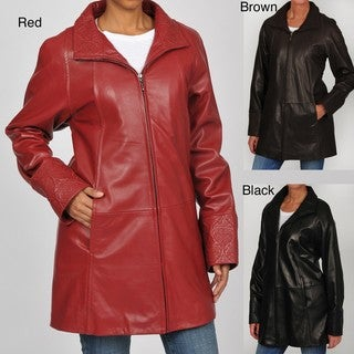 Tibor Women's Embossed Leather Swing Coat