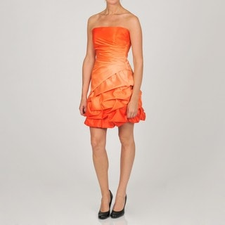 Onyx Nite Women's Junior Tangerine Bubble Hem Party Dress