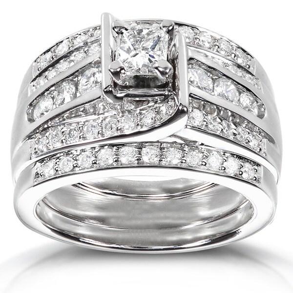Annello 14k White Gold 1ct TDW 3-piece Diamond Bridal Ring Set (H-I, I1-I2)