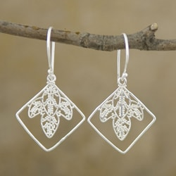 Silver-Plated 'Leaves' Dangle Earrings (Indonesia)