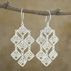 Silverplated Brass 'Geometric' Dangle Earrings (Indonesia)