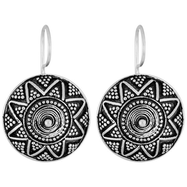 Silverplated Brass 'Beaded Surface' Disc Earrings (Indonesia)