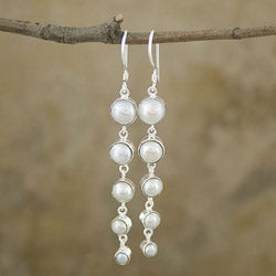 Mabe Pearl Silverplated Brass Long Dangle Earrings (Indonesia)