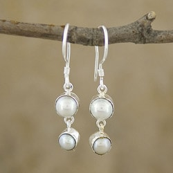 Mabe Pearl Silverplated Brass Dangle Earrings (Indonesia)