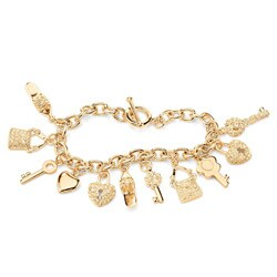 Lillith Star 14k Goldplated Clear Crystal Charm Bracelet
