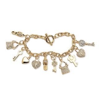 "PalmBeach Round Crystal 14k Yellow Gold-Plated Shoe, Purse, Heart Lock and Key Charm Bracelet 7 1/2"" Bold Fashion"