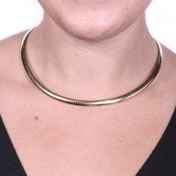 "PalmBeach Omega Link Choker Necklace in Yellow Gold Tone 16"" Tailored"