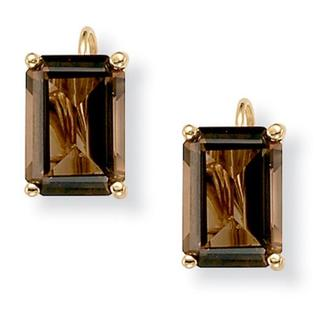 PalmBeach 14k Yellow Goldplated Smokey Quartz Earrings Diamonds & Gems