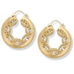 Toscana Collection Yellow Goldtone Scroll Hoop Earrings