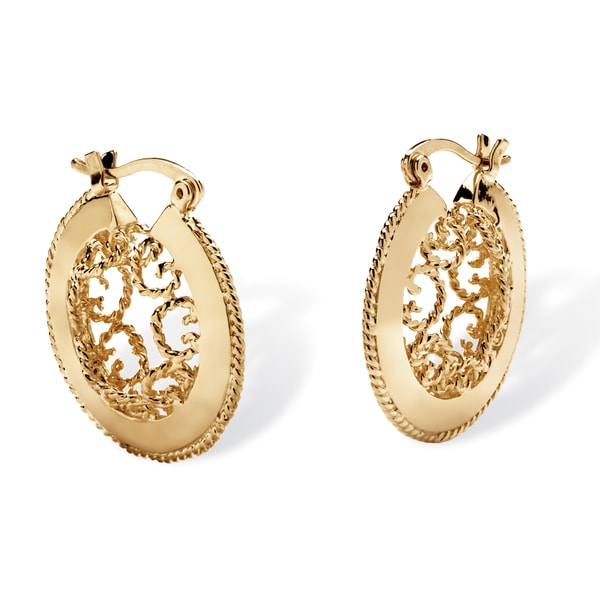 PalmBeach Scroll Cutout Hoop Earrings in Yellow Gold Tone Tailored