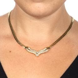 Isabella Collection Goldtone Clear Crystal Chevron Necklace