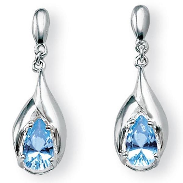 PalmBeach 2.20 TCW Pear-Cut Blue Topaz Drop Earrings in Sterling Silver