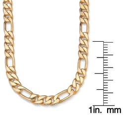 """PalmBeach Figaro-Link Necklace in Yellow Gold Tone 24"""""""