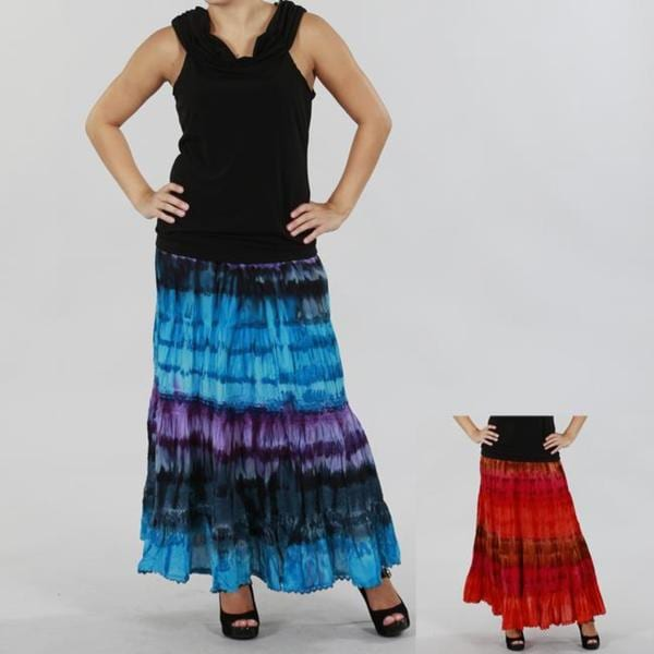 RQT Women's Tie-dyed Cotton Crocheted Tiered Skirt